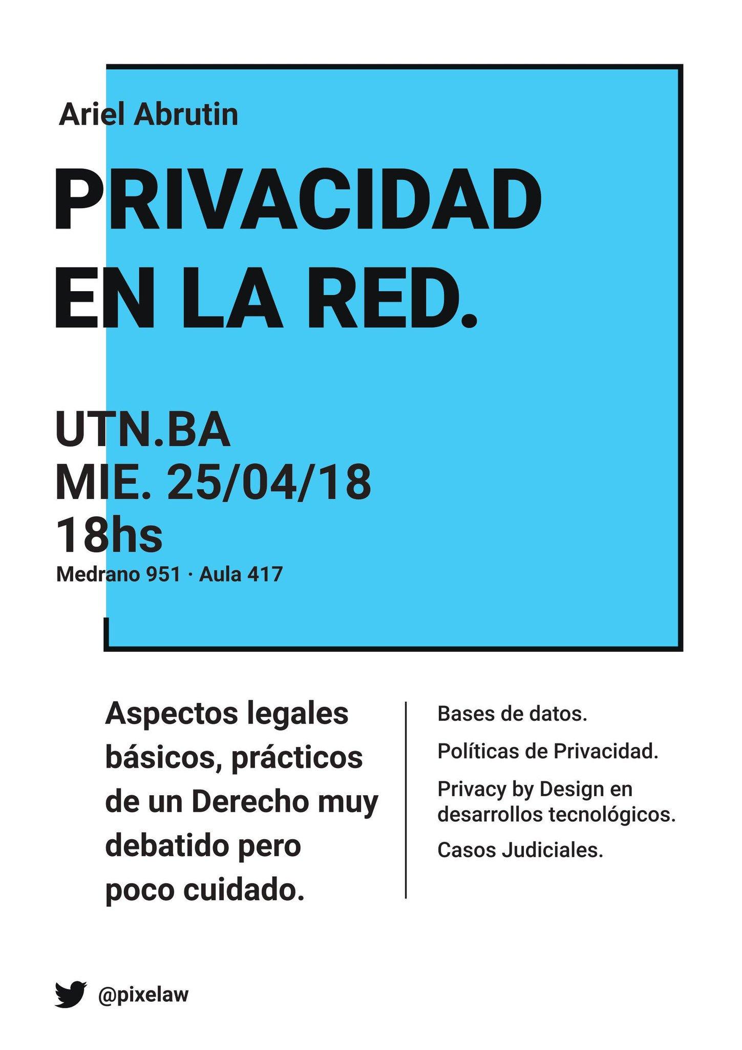 Flyer CharlaUTN Privacidad